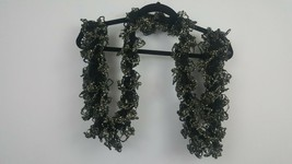 Black Handmade Knit Ruffle Ladies Scarf Vintage Head Neck Cover Wrap - $9.74