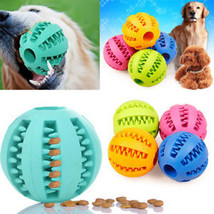 Pet Dog Puppy Cat Training Dental Toy Rubber Ball Chew Treat Dispensing Holder B - $5.99