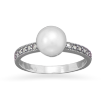 Cultured Freshwater Pearl and Marcasite Ring - $36.95
