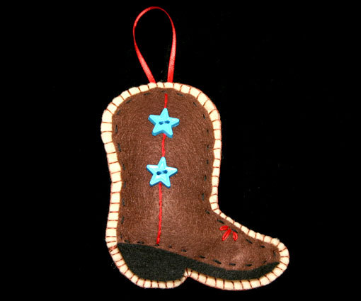 Handcrafted Western Country Felt Boot Christmas Ornament