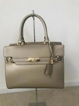 Calvin Klein Faye Leather Satchel Gold MSRP $298 - $107.53