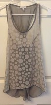 Delias Gauzy Sleeveless Top Tank Cami Gray White Dots Open T Back Size S - $6.88