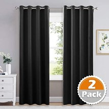 lefeng Black Blackout Curtains Thermal Insulated Curtain Panels Grommet ... - $33.89