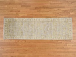 3'2''x10' Washed Out Oushak Purple Runner HandKnotted Pure Wool Rug G38557 - $470.25