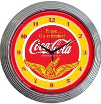 Coca Cola Gold Wings Get Refreshed old fashioned neon clock Fast Free Ship  - £61.35 GBP
