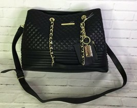 Steve Madden Patty Black Faux Leather Quilted Large Tote Handbag Purse C... - $79.19