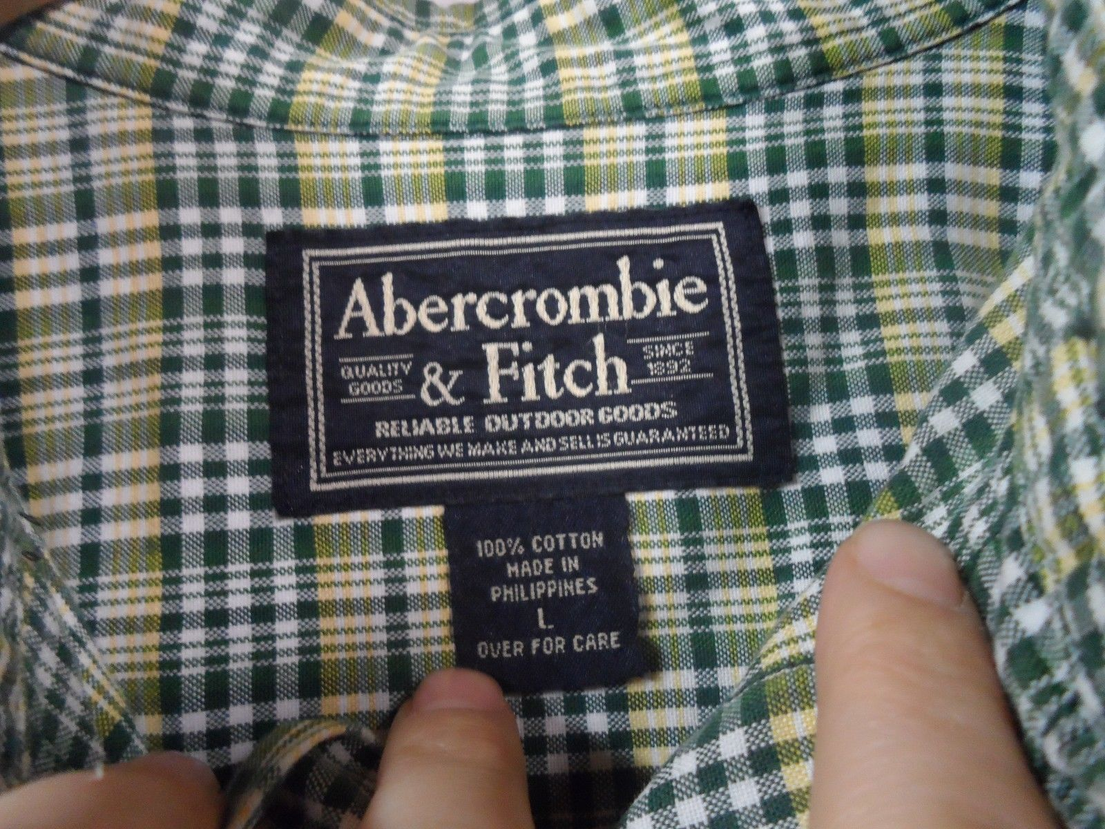 ABERCROMBIE & FITCH Green Yellow Plaid Shirt Large Button front Short Sleeve AF