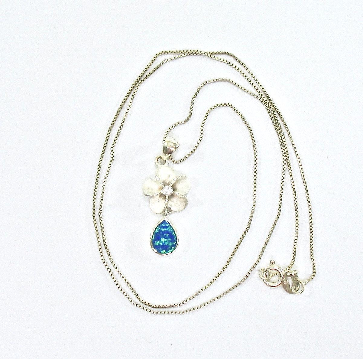 Opal Sterling Necklace, Dangle Drop Pendant, Opal Glass Teardrop, 1970's, 925 Fl