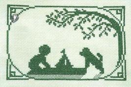 Back Yard Sailor Summer Silhouette with charm cross stitch chart Handblessings - $5.00