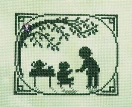 Tea Party Summer Silhouette with charm cross stitch chart Handblessings - $5.00