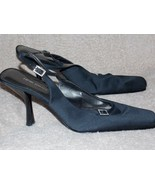 Nine West Black Crystal Retro SLINGBACK Pump Heels 10M Women Used - $34.64