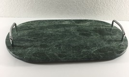 Studio Nova Green Marble Tray Silver Toned Handles Footed Cheese Serving... - $19.79