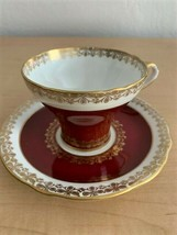 Vintage Aynsley Burgandy w/Gold Trim Tea Cup & Saucer Pattern # 1464 cir... - $74.25