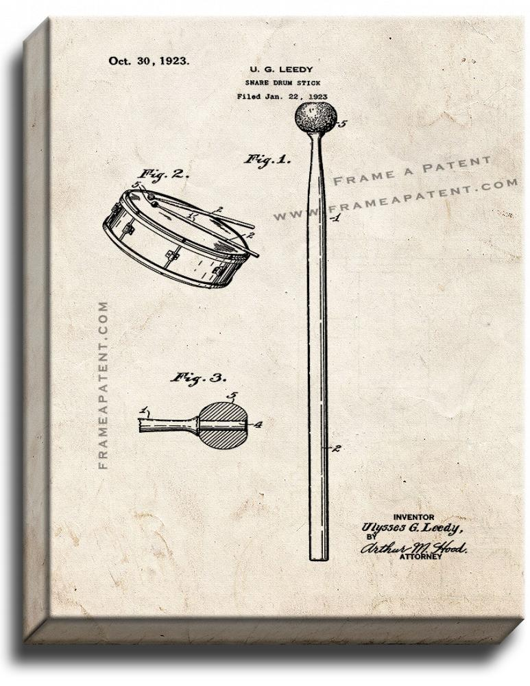 Primary image for Snare-drum Stick Patent Print Old Look on Canvas