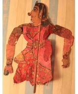 1900s Shadow leather puppets indian traditional collectible antique lady... - $630.70