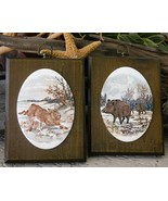 Vintage Wild Hare Boar Animals Porcelain Wood Wall Plaques Oval Pair - $49.95