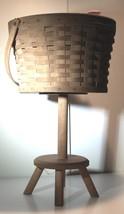 Vintage Longaberger Sewing Basket On Stand Dated 1986 Leather Hinges Excellent! - $105.00