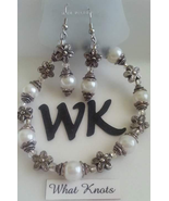 Glass Pearls Flowers Elegant Handcrafted Bracelet Earrings Women  - $6.99