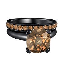 Cushion Cut Smoky Quartz 14k Black Gold Over .925 Silver Engagement Bridal Ring  - $84.96