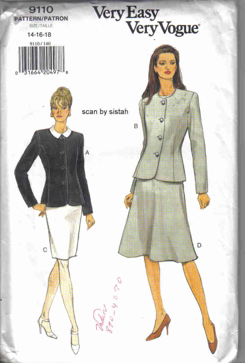 Vogue 9110 very easy Pattern 14 16 18 Jacket Skirt slim a-line suit career