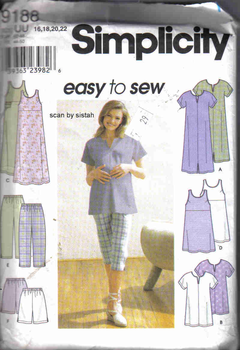 Simplicity 9188 Pattern 16 18 20 22 Maternity pants shorts tunic dress career