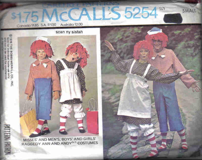 McCall's 5254 Pattern Raggedy Ann Andy doll adult man woman S small costume McCall's