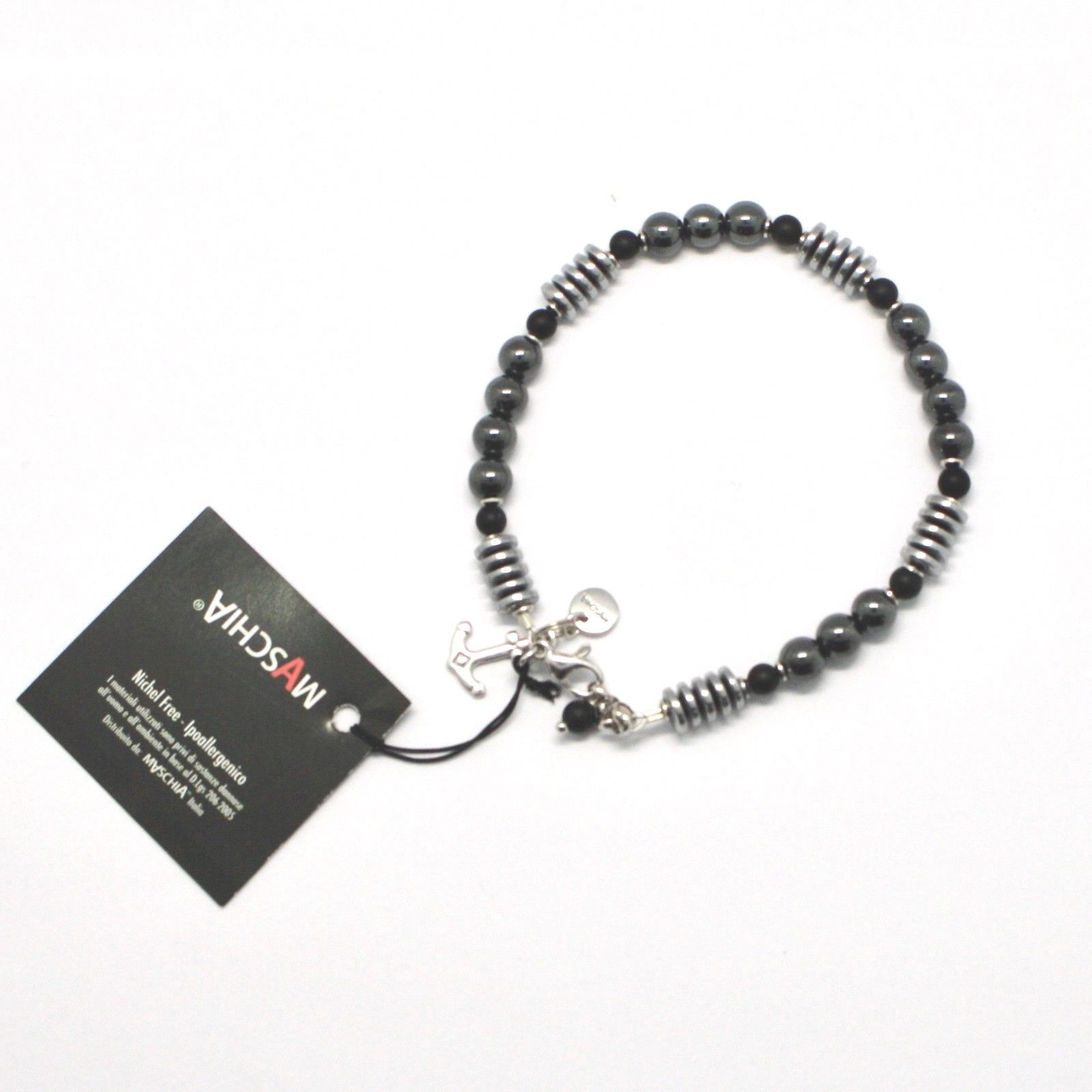 Silver Bracelet 925 with Onyx and Hematite BLE-1 Made in Italy by Maschia