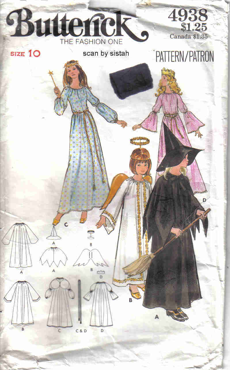 Butterick  4938 Pattern girls 10 angel princess witch fairy wings costume Butterick