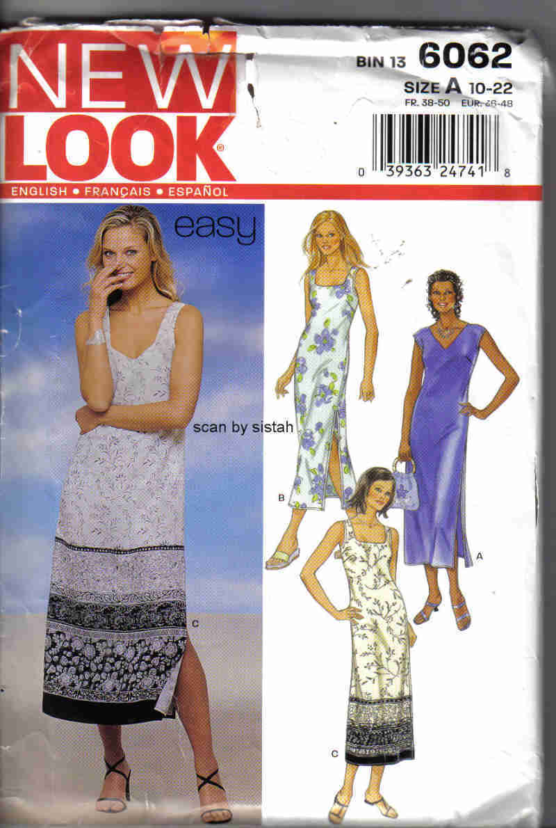 New Look 6062 Pattern 10 12 14 16 18 20 22 Dress casual sleeveless cover up VP1 Simplicity New Look