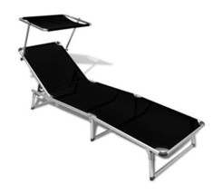 Sun Lounger With Canopy Adjustable Backrest Garden Seat Beach Lounge Cha... - $116.41