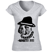 Stafordshire Terrier Gangster Boss P - New Cotton Grey Lady Tshirt - $25.23