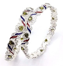 HANDMADE 925 FINE SILVER BRACELET BANGLES PAIR ENAMELED MEENA COLOR FROM... - $188.09