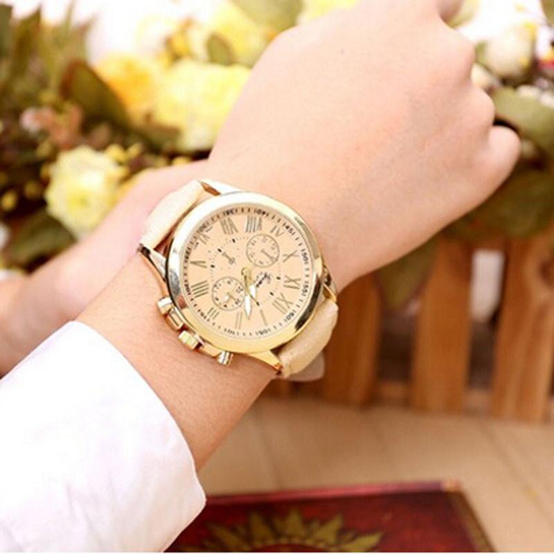 geneva women casual pu leather bracelet roman numeral quartz wristwatch relogio feminino montre