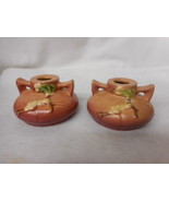 Pair of Vintage Roseville Pottery Pinkish Brown Snowberry Candle Holders... - $74.25