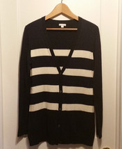 Gap Women's Striped Cardigan Sweater Nylon Wool Blend Navy, Size M, Pre-... - $20.77