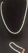 Vintage Monet White Glass With Metal Spacers Necklace & Bracelet - Excel... - $14.90