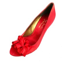 Touch Of Nina Red Satin Ruffle Accent Peep Toe Heels Size 8 Med - $18.80