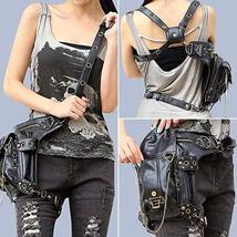 Womens Ladies Leather Punk Gothic Steampunk Belt Bag Waist Leg Purse Pouch Waist