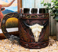 Rustic Western Bull Skull Cow With Dreamcatcher Feathers Faux Tooled Lea... - $29.99