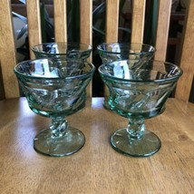 "Fostoria Jamestown Green Swirl 4.25"" Footed Champagne Sherbet Glasses Set of 4 - $19.80"