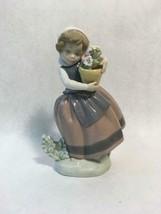 "Lladro Porcelain Daisa ""Spring is Here"" 1983 Girl w Flower Basket Made i... - $98.99"