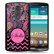 PERSONALIZED RUBBER CASE FOR LG G6 G5 G4 G3 BLACK PINK CHEVRON PAISLEY - $12.98