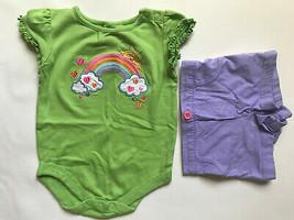 Girl's Size 12 M Months 2 Pc Outfit Green Rainbow Garanimals Top, Purple... - $10.00