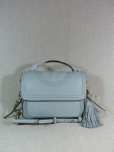 NWT Tory Burch Seltzer Pale Blue Leather Fleming Satchel - $443.51