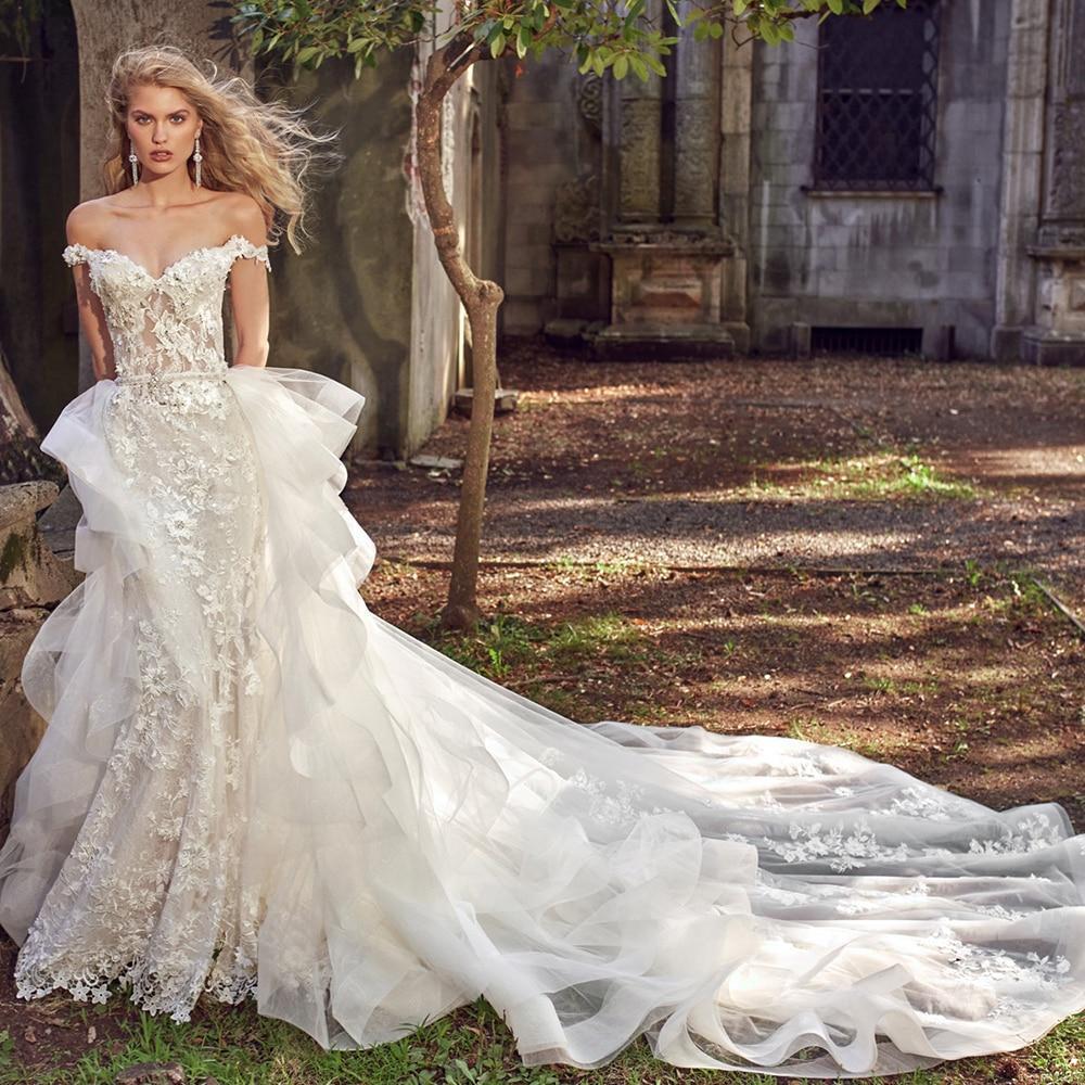 Owers crystal 2 pieces mermaid wedding dresses with detachable train aliexpress login vestido de