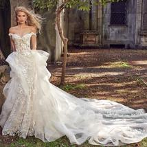 Floral Lace Crystal Appliques Mermaid Wedding Dresses With Detachable Train