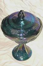 Indiana Glass Blue Harvest Grape Carnival Glass Compote Pedestal Vessel ... - $24.74