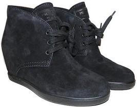 Prada Black Suede Hidden Concealed Wedge Lace Up Boot 38.5 Booties 8.5 - $384.00
