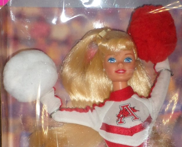 Mattel Barbie Doll University Arkansas Cheerleader 1996 red white uniform H35