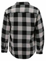 Men's Premium Cotton Button Up Long Sleeve Plaid Black/Cream Flannel Shirt - L image 2